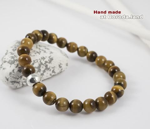 BS510-1 Мужской браслет ручной работы из тигрового глаза. &#34Boroda Design&#34