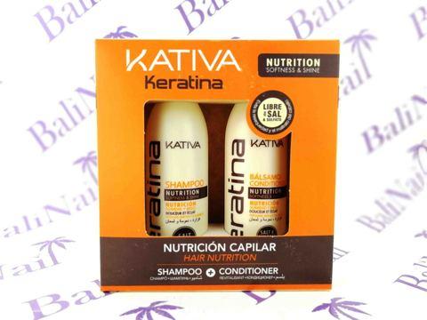 Kativa KERATINA Набор укрепляющий кондиц-р + шампунь с кератином для всех типов волос, 2х100 мл