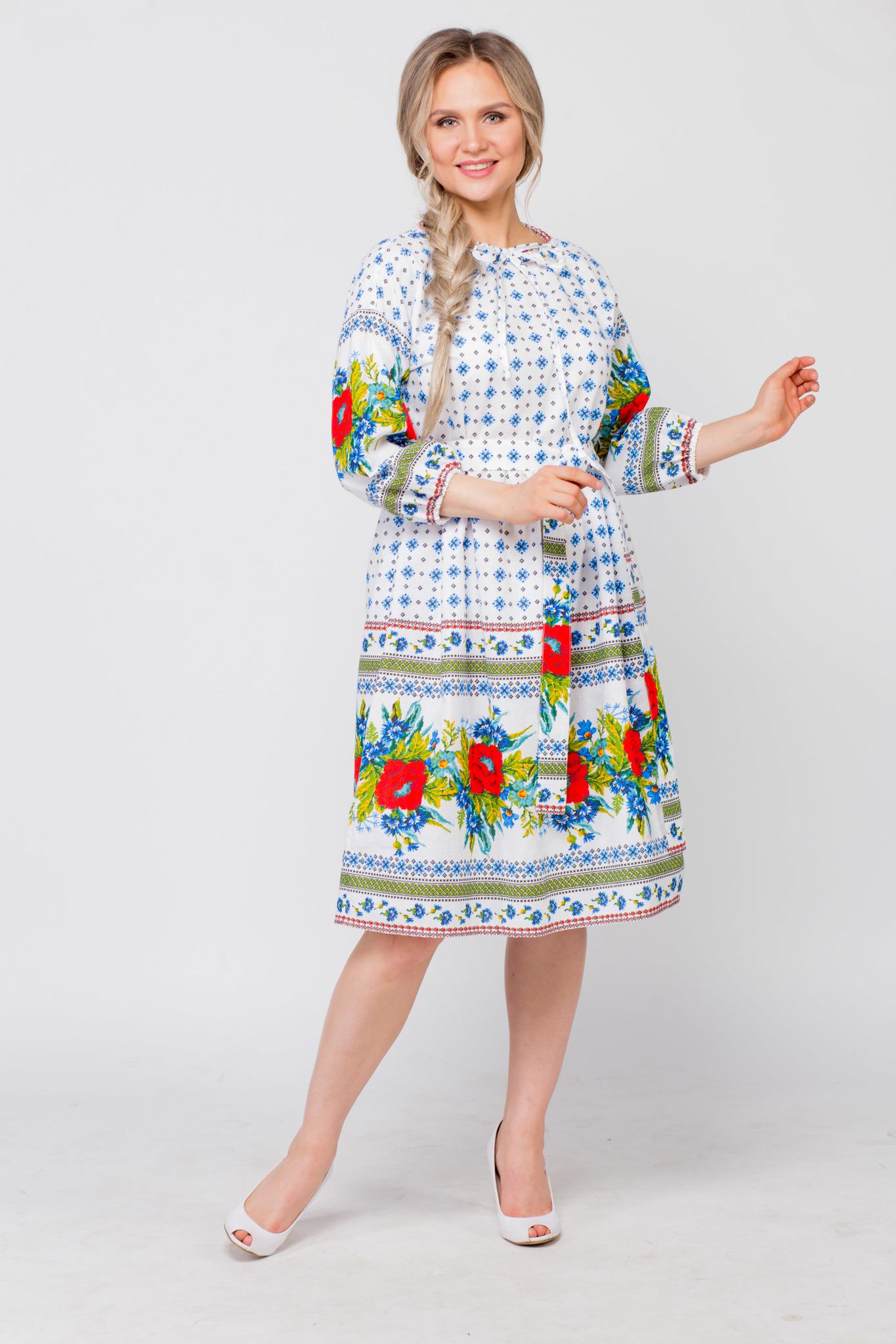 Платье льняное Маки-васильки от Иванки