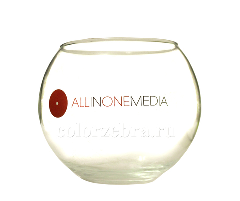 Деколирование бренда и логотипа на стеклянной вазе