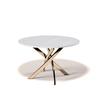 Стол кухонный KENNER R1200, овальный, стекло белое, опора золото
