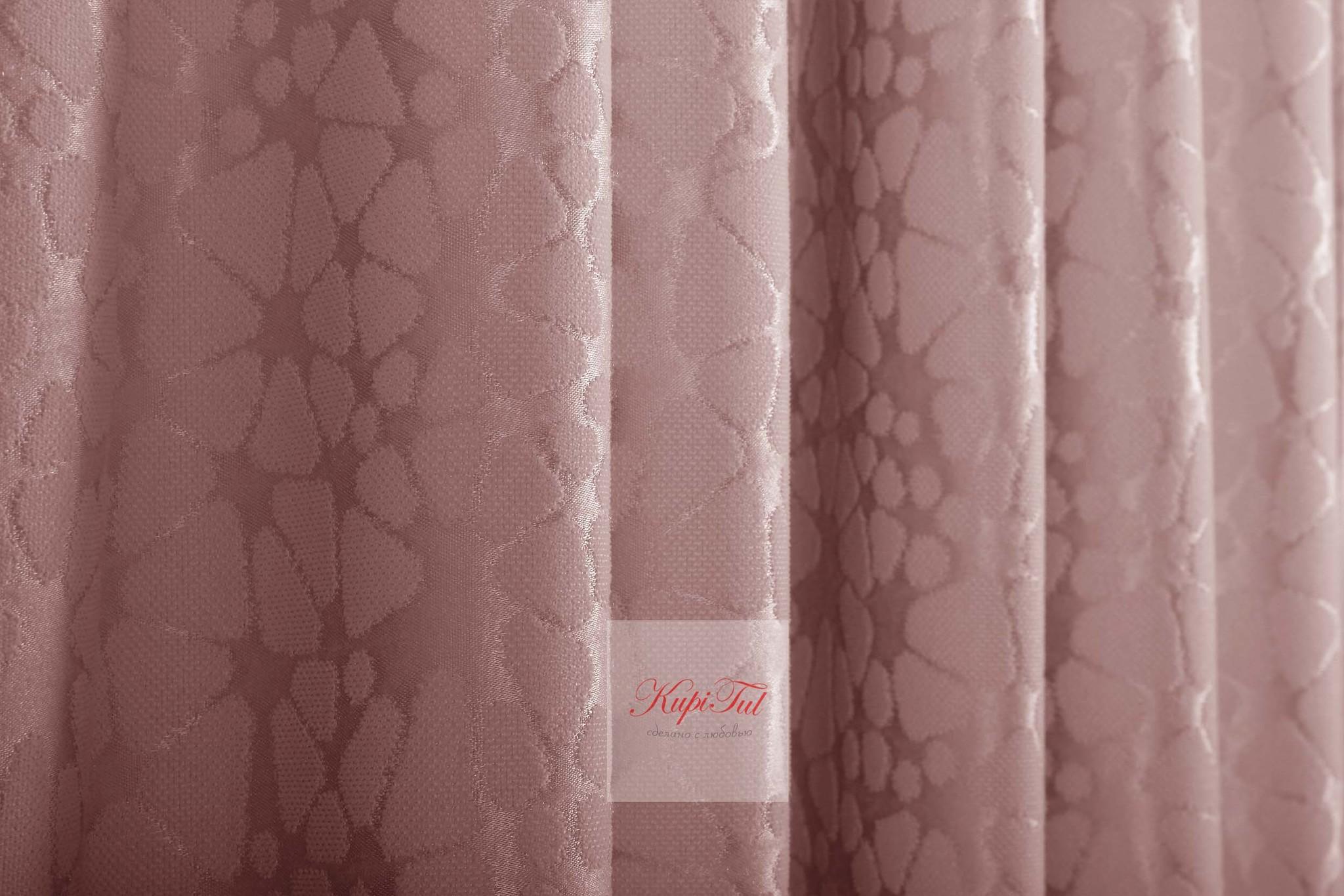 Лоран (светло-розовый). Шторы из стриженного бархата.