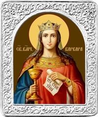 Святая Варвара. Маленькая икона в серебряной раме.