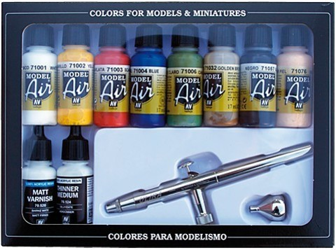 Model Air Basic Colors (10) + Airbrush 17 ml.
