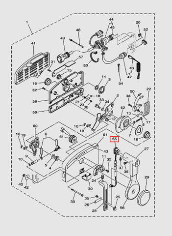 Кнопка трима на машинку газ-реверс для лодочного мотора T40 Sea-PRO (28-55)