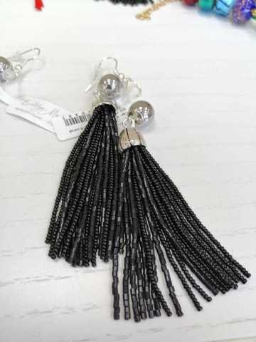 Серьги бисерные черные длинные из 18 нитей