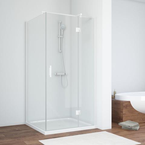 Душевой уголок Vegas Glass AFP-Fis профиль белый, стекло прозрачное
