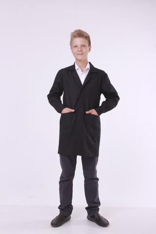 Халат шкільний Garment Factory, бавовна 100%, чорний на липучці, 42 розмір