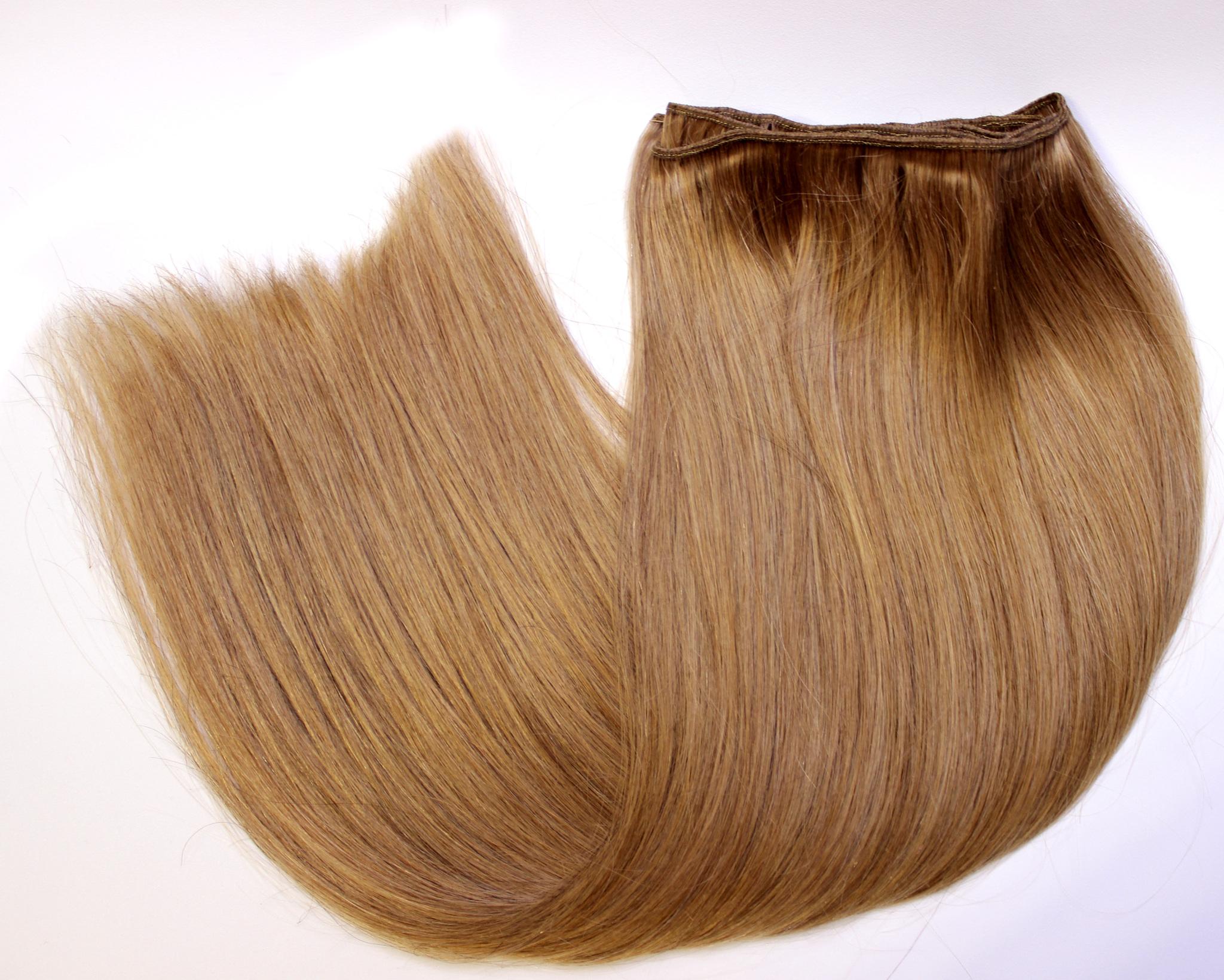 Тресс из натуральных волос длина 60 см цвет #12-светлый орех