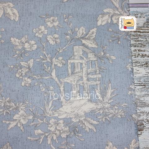 Хлопок Оксфорд 34040 Цветы на серо-голубом