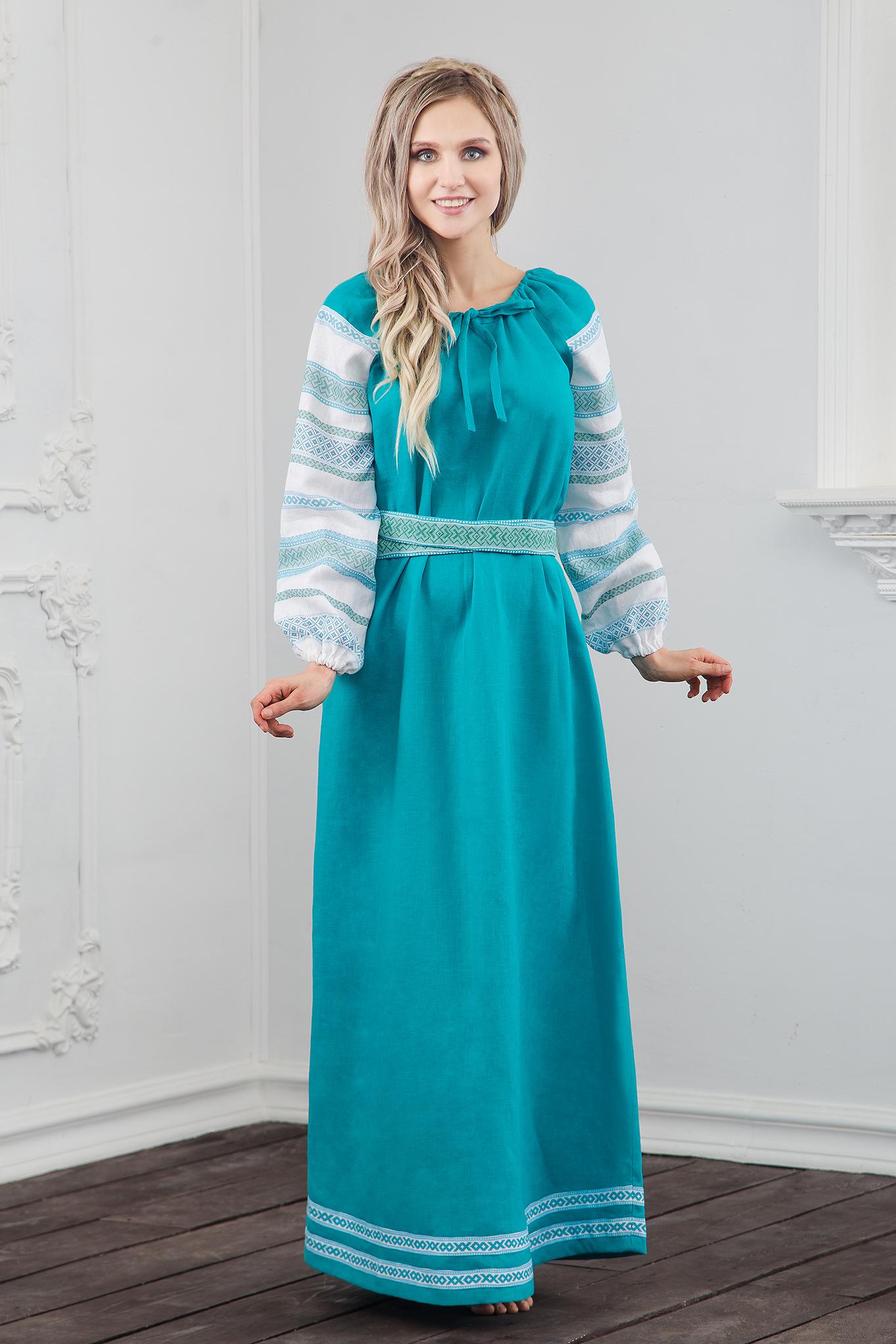 Традиционное русское-народное платье Лазурь фото спереди