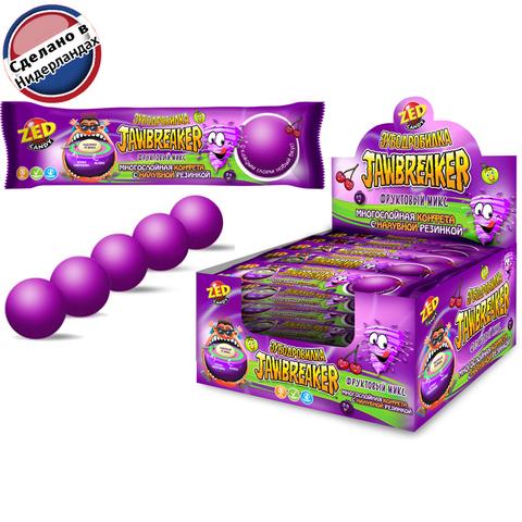 JAWBREAKER Зубодробилка Фруктовый микс многослойная конфета с надувной резинкой 1кор*12бл*15 шт. 41 гр.