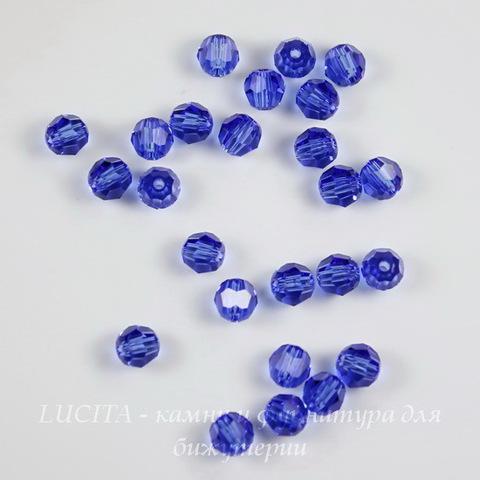 5000 Бусина - шарик с огранкой Сваровски Sapphire 4 мм, 5 штук