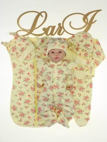 Комплект на выписку для новорожденных Роуз 7 предметов (лимонный\розовый)