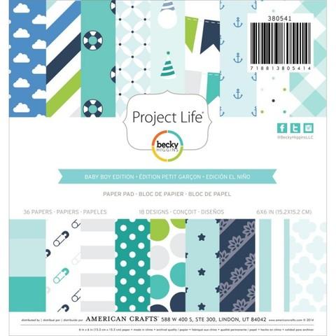 Набор односторонней бумаги Baby Boy для Project Life 15x15 см