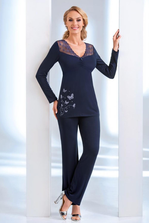 Пижама женская темно-синяя из вискозы (Домашняя одежда больших размеров)