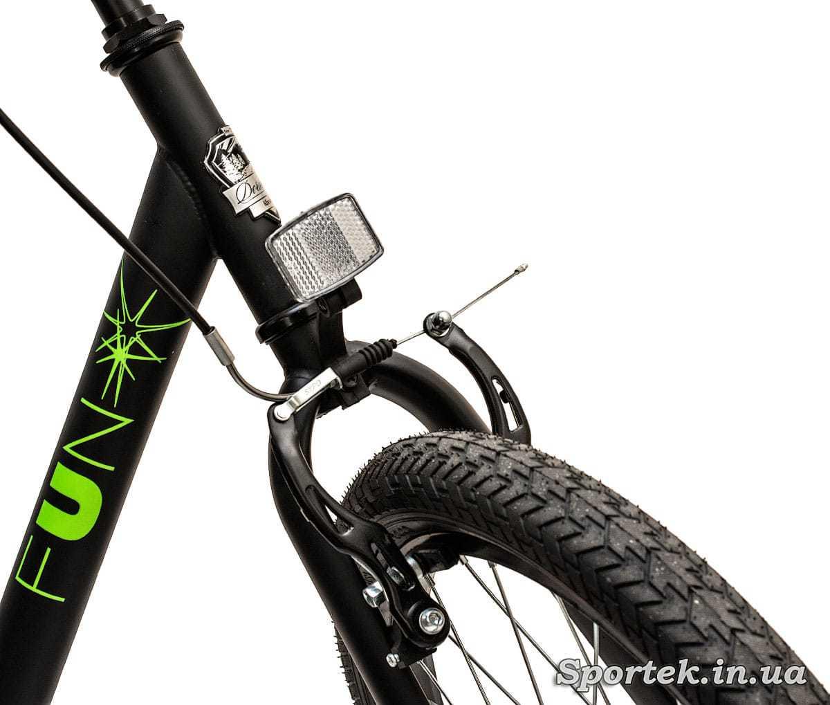 Передние колесо и тормоз складного подросткового велосипеда Dorozhnik Fun 2016