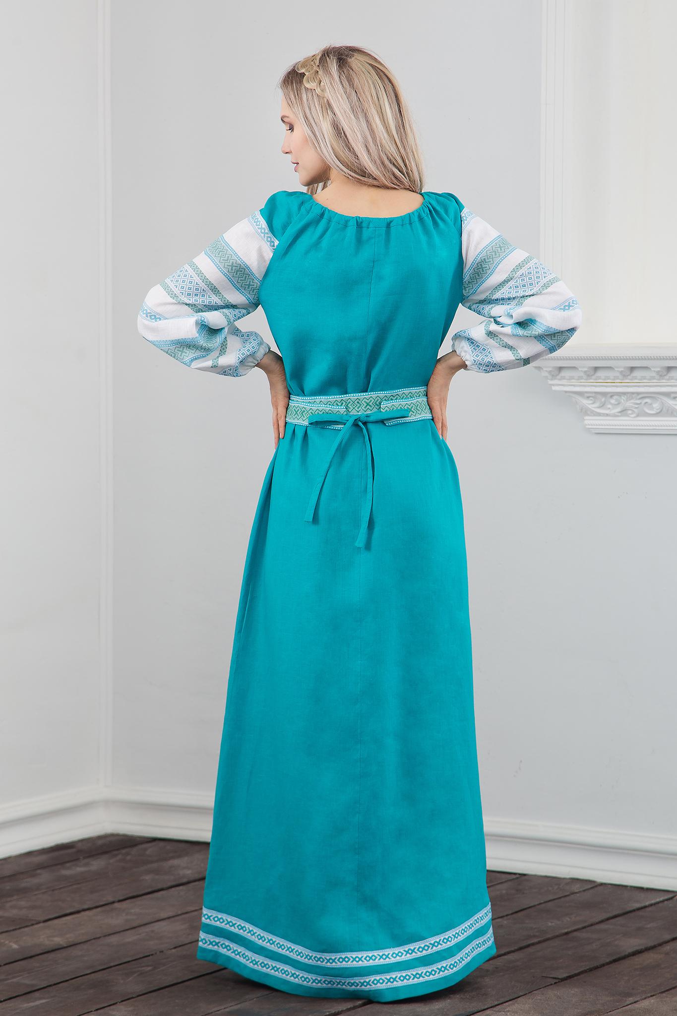 Платье славянское традиционное Лазурь вид сзади
