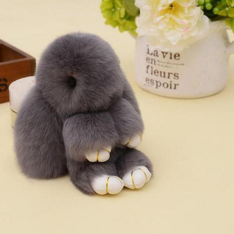 Брелок - Заяц из натурального меха 12 см.