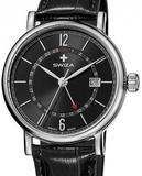 Часы наручные SWIZA Alza GMT сталь / черная кожа 40мм (WAT.0142.1003)