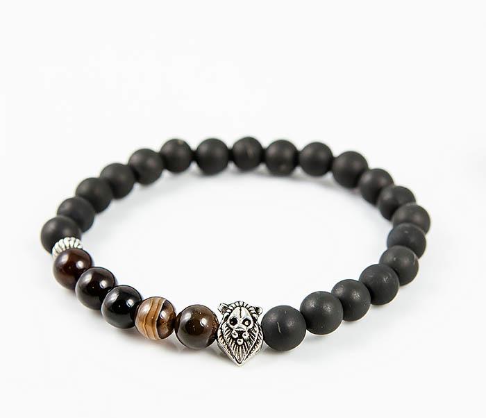 Boroda Design, Мужской браслет со львом из шунгита и полосатого агата