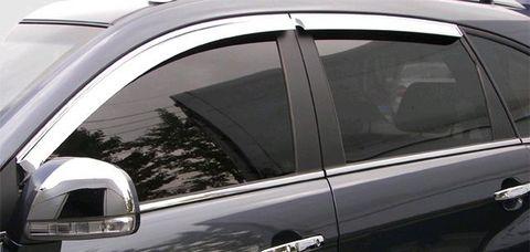 Дефлекторы окон (хром) V-STAR для Hyundai Santa Fe III 12 (CHR23284)