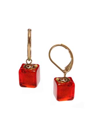 Серьги Perla Piccolo Cubo красные