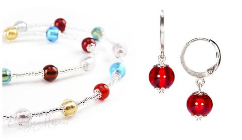 Комплект Carnavale Argento Piccolo (красные серьги Piccolo, ожерелье)