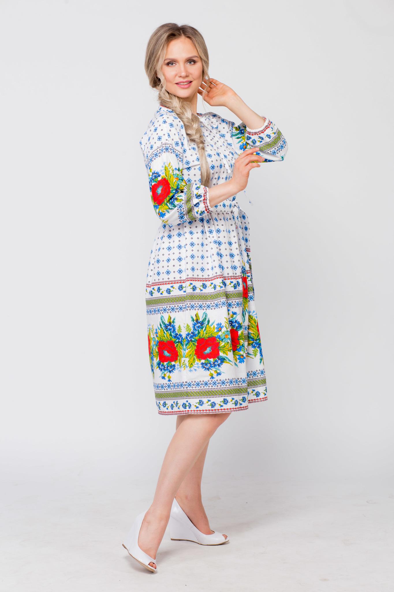 Платье льняное Маки-васильки вид сбоку