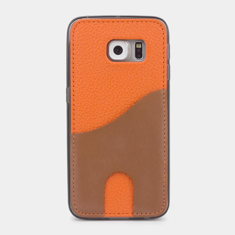 Чехол-накладка Andre для Samsung S6 edge из натуральной кожи теленка, оранжевого цвета