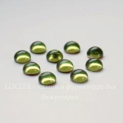 Кабошон круглый Чешское стекло, цвет - оливковый, 5 мм, 10 штук