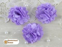 Цветы атласные с фатином сиреневые диаметр 5 см