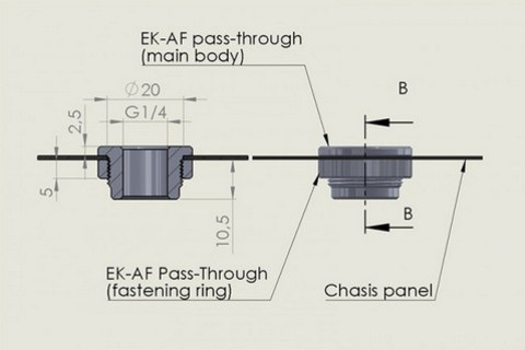 EK-AF Pass-Through G1/4 - Black