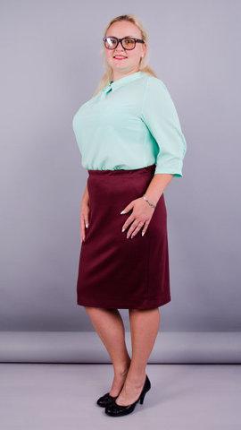 Пион. Элегантная юбка больших размеров. Бордо.