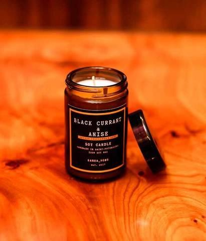 Свеча ароматическая в темном стекле Черная смородина и анис, Banka home