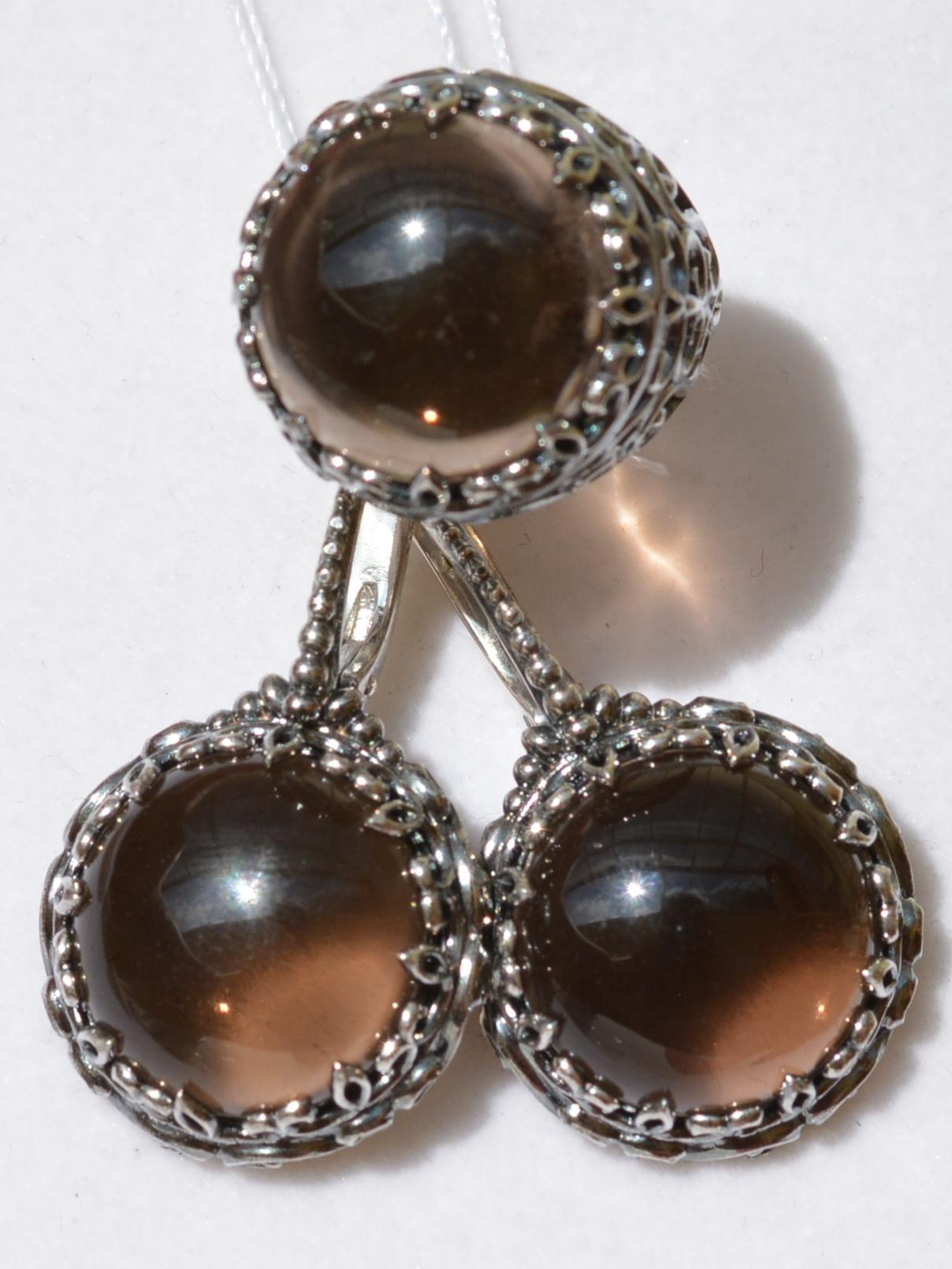Долина-раух(кольцо + серьги из серебра)