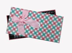 """Коробка """"Деловой"""" с розовым бантом / прямоугольник, 21,3*10,7*3,3 см, 1 шт."""