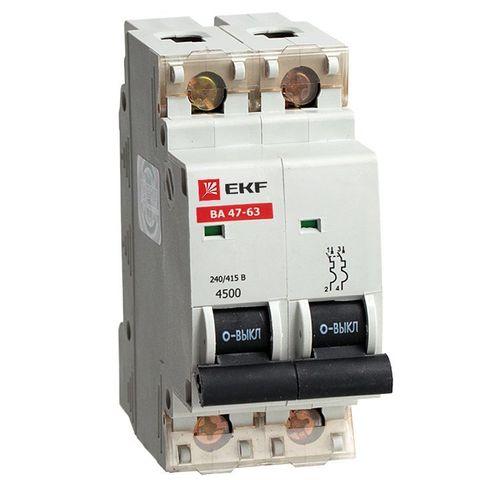 Автоматический выключатель (автомат) 2Р 10А ВА 47-63 EKF
