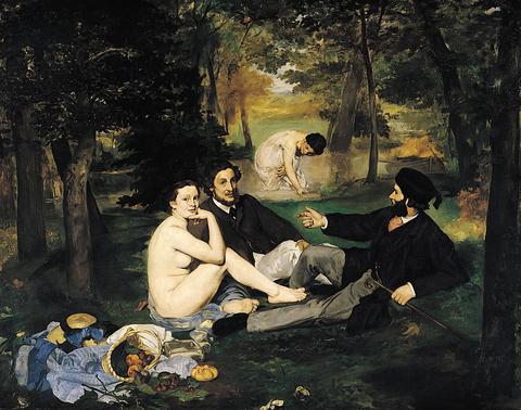 Эдуард Мане. Завтрак на траве. 1863. Холст, масло. 208 × 264,5 см. Музей Орсе, Париж