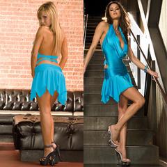 Клубное платье с асимметричной юбкой. Голубое. CL083