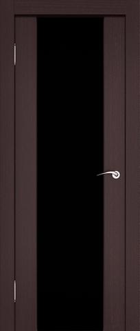 Дверь 3/3  стекло белое/чёрное (африканский орех, остекленная экошпон), фабрика Ладора