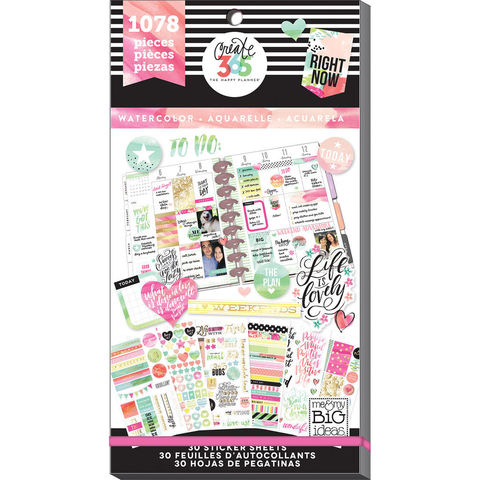 Блокнот со стикерами для ежедневника Create 365 Happy Planner Sticker Value Pack- Watercolor. 1078 шт