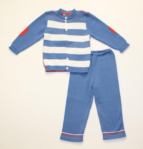 Комплект вязаный для мальчика хлопковый КМО-66 голубой в полоску