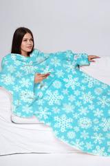 Плед с рукавами Sleepy New Year снежинки, голубой