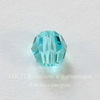 5000 Бусина - шарик с огранкой Сваровски Light Turquoise 4 мм, 5 штук
