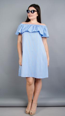 Бали. Модное платье с воланом большие размеры. Голубая полоса.