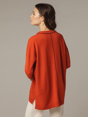 Женский оранжевый джемпер свободного кроя из шерсти и кашемира - фото 6