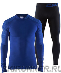 Тёплый комплект термобелья Craft Warm Intensity blue-black мужской