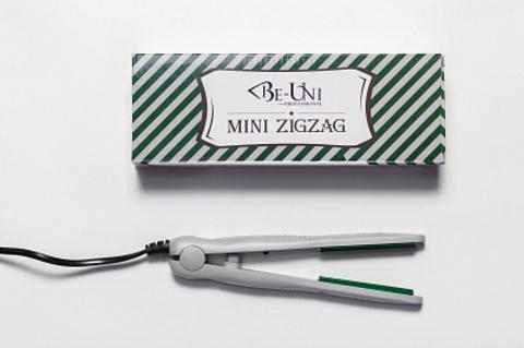 Утюжок мини-гофре Зигзаг турмалин серый/зеленый для выпрямления волос 25Вт