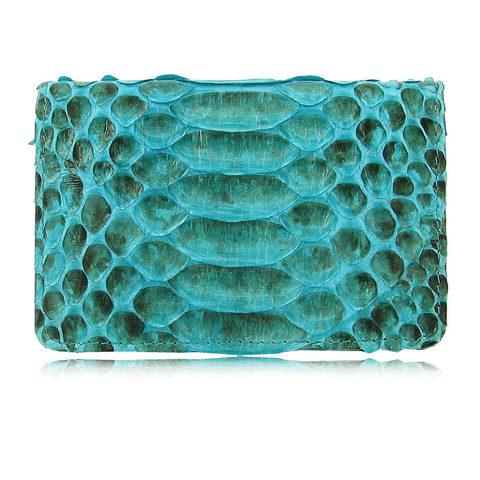 Изысканная стильная качественная голубая визитница из натуральной экзотической кожи питона (брюшная часть) QUARRO AP-045
